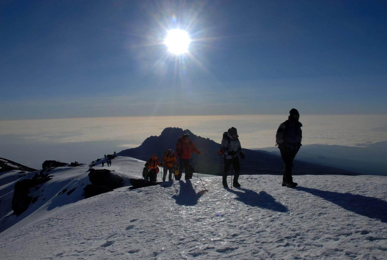 Traversing the crater rim on Kilimanjaro
