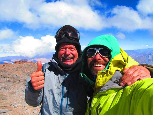 Ricardo & Tristan psyched on the summit of Aconcauga, 22841'/6962m